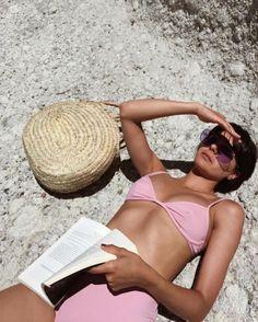 high waist bikini pink straw bag #summeroutfit #strawbag #bikini #swimwear #trends