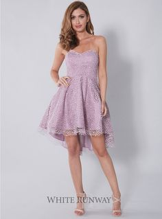 Rubyrose Lace Dress. A gorgeous cocktail length dress by Jadore. A strapless lace dress with a fitted bodice and full skirt with tulle lining.