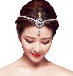 Babeyond Women Wedding Bridal Beaded Forehead Band Dangle Rhinestone Austrian Crystal Hair Chain Headpiece *** Click image for more details.