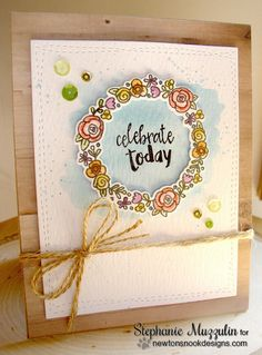 Celebrate Today Card by Stephanie Muzzulin | Happy Little Thoughts Stamp set + Die by Newton's Nook Designs #newtonsnook