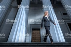 Woman Leaving The Courthouse royalty-free stock photo