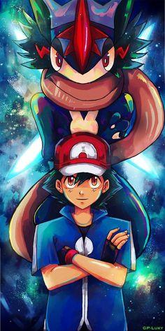 Ash and Greninja Pokemon Art Nintendo Ash Pokemon, Pokemon Fusion, Pokemon Zelda, Pikachu Art, Pokemon Fan Art, Pokemon Cards, Pokemon Ash Greninja, Fanart Pokemon, Pikachu Drawing