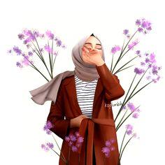 This scarf is an essential item inside garments of females with hijab. As it is a vital item this wraps up th Hijabi Girl, Girl Hijab, Girl Cartoon, Cartoon Art, Cover Wattpad, Hijab Drawing, Islamic Cartoon, Anime Muslim, Hijab Cartoon