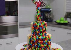 MM Rainbow Cake Gravity Defying M&M Candy Cake   So Easy, So Impressive