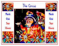 """""""The Circus - Mardi Gras Star Clowns"""" is a fun poster featuring the ringmaster image off the front of a Mystics of Time Mardi Gras float in Mobile, Alabama. Accompanying the ringmaster are two clown-faced masks set in stars, also from the same float. This would be a fun image to decorate a child's room, or anywhere you may want something with a more festive feel! Find this image and more for sale at  marian-bell.pixels.com  and  marian-bell.fineartamerica.com"""