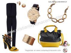 Amarillo, negro y dorado.
