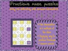 3 Adding and subtracting fractions with uncommon denominators mazes. This is a more engaging and fun way to practice adding and subtracting fractions witho. Tes Resources, Teaching Resources, Fraction Activities, Fun Activities, Adding And Subtracting Fractions, Maze Puzzles, Number, Students, Math