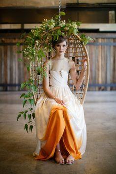 hint of orange in this stunning fall wedding dress, photo by Jasmine Star