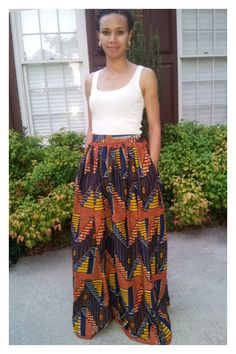 African+Print+Maxi+Skirt+with+pockets+by+MelangeMode+on+Etsy,+$105.00
