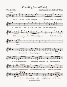 Flute Sheet Music: Counting Stars - Sheet Music