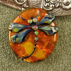 Lampwork Dragonfly in Amber Focal Bead by kerribeads on Etsy