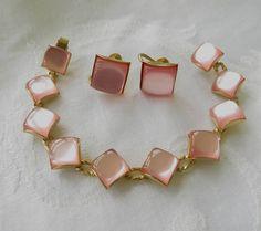 Pink Moonglow Bracelet Set Vintage Thermoset Bracelet Screw