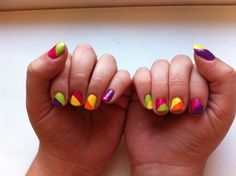 My new neon nails!! My hands are  being featured on beautyeditoroncall.com today! I feel so fabulous!
