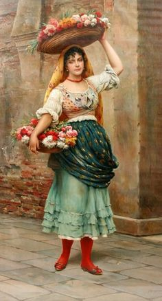 Oil painting by Eugene De Blaas (Italian, William Adolphe Bouguereau, Italian Painters, Historical Art, Fine Art, Beautiful Paintings, Oeuvre D'art, Female Art, Female Images, Painting & Drawing