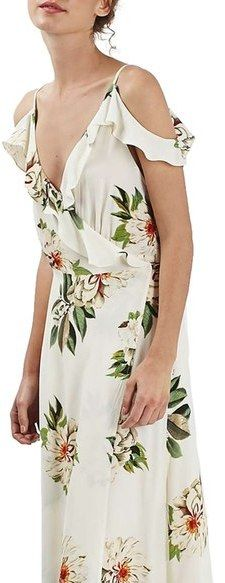 Topshop Floral Print Ruffle Cold Shoulder Wrap Maxi Dress