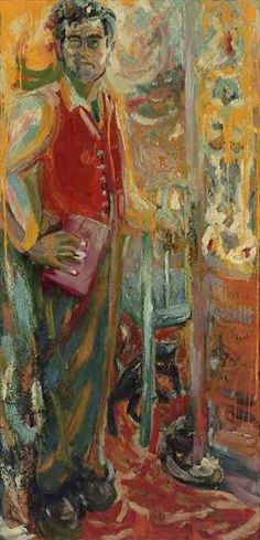 "Jess, ""The Door of Manycolord Glass Opend, ImaginaryPortrait #1, Robert Duncan (1954) oil on canvas, 70 x 33 1/2 in (image courtesy Tibor de Nagy Gallery, New York)"