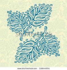 stock photo : Doodle ink leaf pattern , model for design of gift packs, patterns fabric, wallpaper, web sites, etc.