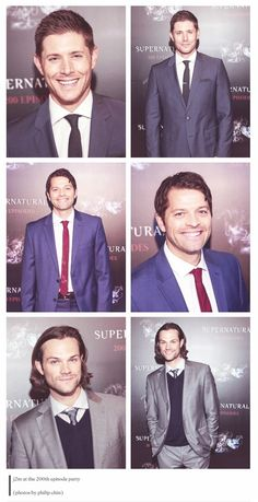 Jensen Ackles, Misha Collins, Jared Padalecki SO HANDSOME BOYS <3 <3 <3 photo credits by Philip Chin. #SPN200 #SPN200thEpisodeParty #SPNFamily