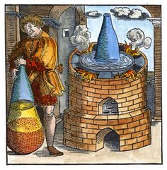 """Illustrations of furnaces and alchemical apparatus from Geber   Woodcuts from the """"Works of Geber"""" by Richard Russell, London, 1678.   A modern coloration by Adam McLean. ooblium: Illustrations of furnaces and... - La Buena Diógenes"""