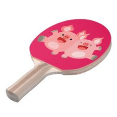 YEAH!! Cute Cartoon Pigs Ping Pong Paddle by Cheerful Madness!!  #cheerfulmadness #pig #pigs #friends #yeah #oink #tshirts #accessories #kawaii #cartoon #cute #zazzle #pingpong #paddle #toys #games
