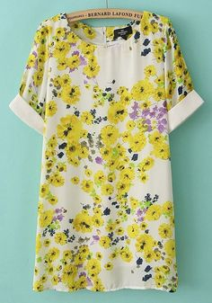 Multicolor Sunflower Patchwork Zipper Short Sleeve Cotton Dress