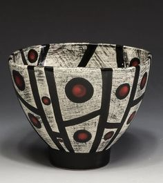 Marcy Neiditz - bowl with underglaze Ceramic Artists, Surface Design, Glaze, Decorative Bowls, Pots, Abstract Art, Pottery, Sculpture, Wall