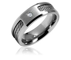 $19.99 3/27/2012 Only. 0.04 Carat Diamond Titanium Men's Wedding Band Ring With Stainless Steel Cable Inlay
