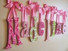 Crafts I want to do Baby Door, Hospital Door, Wooden Letters, Cardboard Letters, Girl Room, Child's Room, Diy For Kids, Baby Gifts, Decoupage