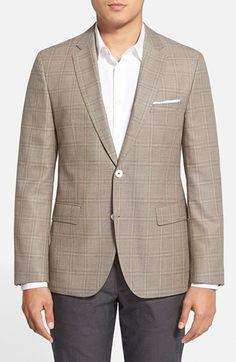 Men's BOSS 'Jarett' Trim Fit Plaid Wool Blend Sport Coat