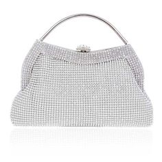 Damara Womens Shell Clasp Rhinestones Top Handle Bags,Silver *** You can get more details at