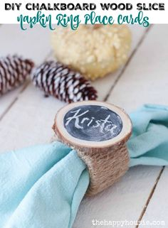 DIY Chalkboard Wood Slice Napkin Ring Place Cards are a cute and easy addition to your holiday table and you won't believe they are made…