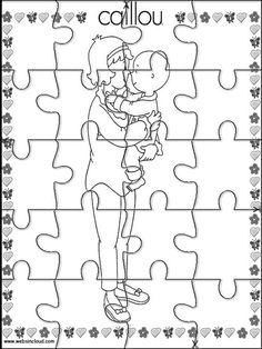 Printable jigsaw puzzles to cut out for kids Caillou 18 Coloring Pages