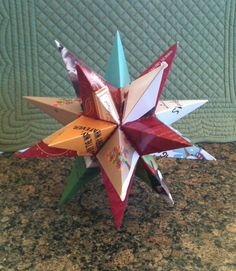My version of the Christmas Card Star Tree-Topper -- It'd be really pretty in gold, not old cards, but cool idea w/ template too