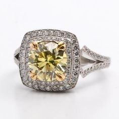 Colorful! Antique Engagement Rings - VINTAGE Art Deco Diamond Solitaire Engagement Ring in 14K White Gold