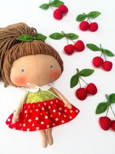 Daughter gift-Tilda doll cherry-Rag by HandmadeToyStore on Etsy