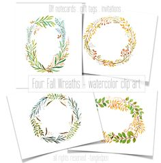 fall wreaths hand painted - watercolor clip art - digital download - diy invitation for wedding, thanksgiving by tangledPen on Etsy