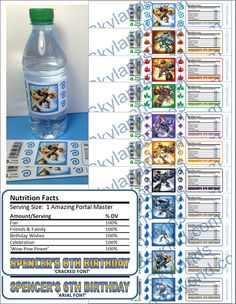 Skylanders Party Water Bottle Character Label Wraps UPrint (4) per 8 1/2 x 11 Personalized PDF file