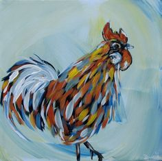 Canvas Painting Ideas for Beginners | Rooster original acrylic painting on canvas by … | Art Ideas