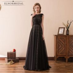 BeryLove Elegant A Line Black Lace Evening Dresses 2019 Long Evening Gowns Beaded Women Prom Dresses Special Occasion Dresses. Long Black Evening Dress, A Line Evening Dress, Long Evening Gowns, Dress Long, Evening Party, Black Prom Dresses, Formal Dresses For Women, Lace Dresses, Homecoming Dresses