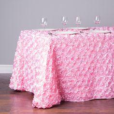 88 x 154 in. Rectangular Rosette Satin Tablecloth Pink