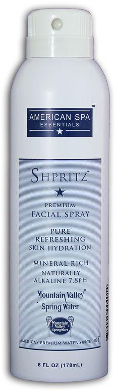 Shpritz Premium Facial Spray, a naturally alkaline 7.8pH, mineral rich, spring water mist