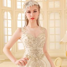 YZ Fashion & Bridal Luxury Crystal Bright Diamond Sexy Fancy Wedding Dress IVBN · YZ Fashion Bridal · Online Store Powered by Storenvy