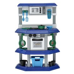 Playset includes 23 accessories - assorted cooking utensils, pots and pans, cell phone and food basket Color: Blue, silver and ivory Requires 2 AA batteries  Read more ›