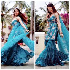 Party Wear Indian Dresses, Indian Gowns Dresses, Dress Indian Style, Indian Fashion Dresses, Indian Wedding Outfits, Indian Designer Outfits, Indian Outfits, Silk Kurti Designs, Sharara Designs