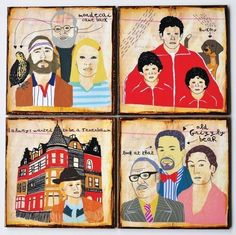 I Always wanted to be a Tenenbaum- set of 4 coasters by retrowhale