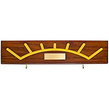 Create a striking presentation by personalizing this handsome plaque with the recipient's name and adding their own ceremonial arrow!   The Arrow of Light logo, routed onto solid hardwood with a red oak finish, is color-filled with yellow lacque