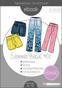 Mix & Match Summer_basic Pants - Patterns and Instructions as PDF Georgette Fabric, Paper Cutting Patterns, Sewing Patterns, Sewing Pants, Summer Pants, Wide Pants, Plaid Fabric, Pants Pattern, Fashion Styles