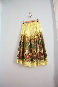 vintage 50s novelty print circle skirt, cowboys and indians