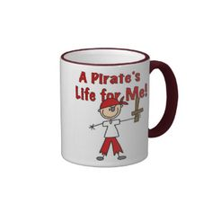 """Pirate's Life for Me stickers, buttons, T-shirts, cards, mousepads, and other pirate design gear with a stick figure pirate holding up his sword and text that reads """"A Pirate's Life For Me!"""". #stick #figure #unioneight #peacockcards #stick #figure #family #pirate #pirate #gift #customized #stick #people #pirate #tshirt #pirate #shirt #pirate #mug #ahoy #ahoy #matey #pirate #ship #treasure #buried #treasure #pirate #design #pirate #theme #love #pirates #pirate #lover #kids #children #boys ..."""