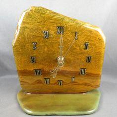 Unique Rock Desk Clock Vintage Hand Made from natural stone @azbluerockers http://www.ebay.com/itm/360630764065?ssPageName=STRK:MESELX:IT&_trksid=p3984.m1555.l2649